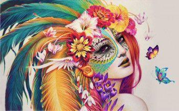 Fototapet Decorativ Creative Decor Fata cu Masca 200 x 300 cm Tapet