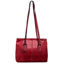 Geanta dama casual piele naturala vachetta rosie 5520C Suveran Genti de dama