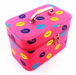 Geanta Trusa Organizatoare pentru Cosmetice si Bijuterii cu Oglinda Culoare Roz