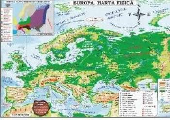 Harta Europa Politica + Fizica pliata Harti