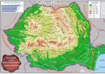 Harta fizica a Romaniei + Harta administrativa a Romaniei 1 3.200.000 pliata Harti