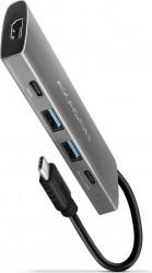Hub USB Axagon USB 2x USB-A + 2x USB-C + HDMI 10 Gbps Argintiu