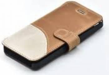 Husa Book Tellur iPhone 5 5S SE Piele Maro - Alb Huse Telefoane