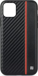 Husa Carbon Meleovo Apple iPhone 11 Pro Max Black Red Huse Telefoane