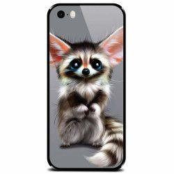 Husa din sticla securizata pentru Apple iPhone 5 Cute Animal 001