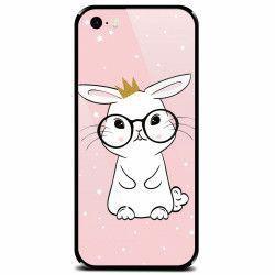 Husa din sticla securizata pentru Apple iPhone 5 Cute Rabbit