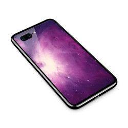 Husa din sticla securizata pentru Apple iPhone 8 Plus Purple Supernova Nebula Explosion