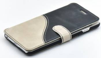 Husa Flip Tellur iPhone 6S Plus Piele Negru-Alb
