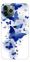 Husa Premium Upzz Print iPhone 11 Pro Max Model Blue Butterflies Huse Telefoane