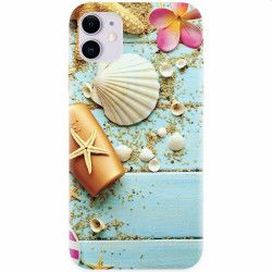 Husa silicon pentru Apple iPhone 11 Blue Wood Seashells Sea Star Huse Telefoane