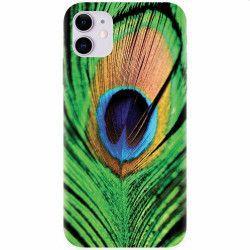 Husa silicon pentru Apple iPhone 11 Peacock Feather Green Blue
