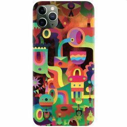 Husa silicon pentru Apple iPhone 11 Pro Max Abstract Colorful Shapes Huse Telefoane