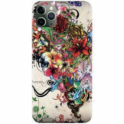 Husa silicon pentru Apple iPhone 11 Pro Max Abstract Flowers Tattoo Illustration Huse Telefoane