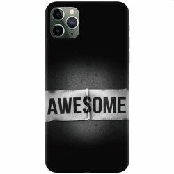 Husa silicon pentru Apple iPhone 11 Pro Max Awesome Label Dark Huse Telefoane