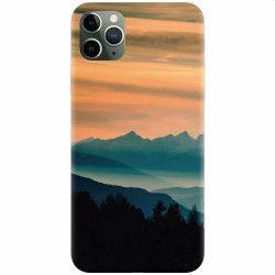 Husa silicon pentru Apple iPhone 11 Pro Max Blue Mountains Orange Clouds Sunset Landscape Huse Telefoane