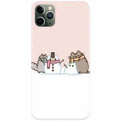 pret preturi Husa silicon pentru Apple iPhone 11 Pro Max Cat And Snowman