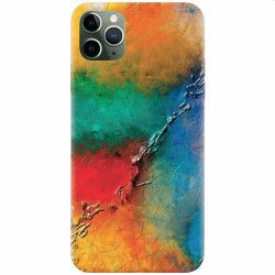 Husa silicon pentru Apple iPhone 11 Pro Max Colorful Wall Paint Texture
