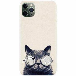 Husa silicon pentru Apple iPhone 11 Pro Max Cool Cat Glasses Huse Telefoane