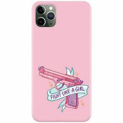 Husa silicon pentru Apple iPhone 11 Pro Max Fight Like A Girl Huse Telefoane