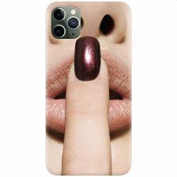 Husa silicon pentru Apple iPhone 11 Pro Finger Purple Nailpolish Girl Lips Huse Telefoane