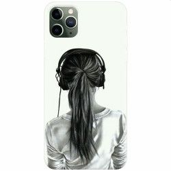 Husa silicon pentru Apple iPhone 11 Pro Girl With Headphone Huse Telefoane
