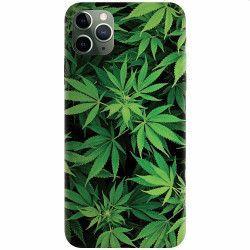 Husa silicon pentru Apple iPhone 11 Pro Max Green Leaf Pattern