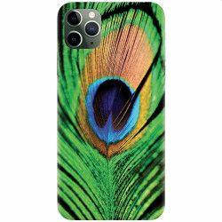 Husa silicon pentru Apple iPhone 11 Pro Peacock Feather Green Blue Huse Telefoane
