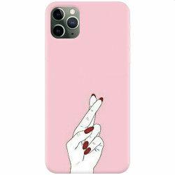 Husa silicon pentru Apple iPhone 11 Pro Pink Finger Cross Huse Telefoane
