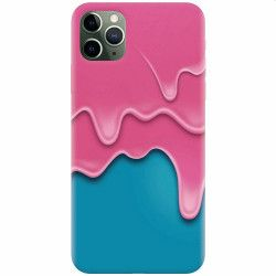 Husa silicon pentru Apple iPhone 11 Pro Pink Liquid Dripping Huse Telefoane