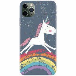 Husa silicon pentru Apple iPhone 11 Pro Max Unicorn Rainbow Huse Telefoane