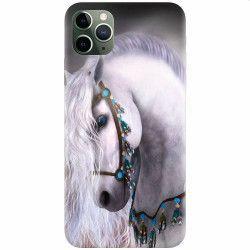 Husa silicon pentru Apple iPhone 11 Pro Max White Horse Huse Telefoane