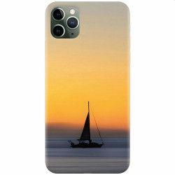 Husa silicon pentru Apple iPhone 11 Pro Max Wind Sail Boat Ocean Sunset Huse Telefoane