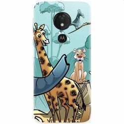 Husa silicon pentru Motorola Moto G7 Power Children Drawings Elephants Giraffes Lions