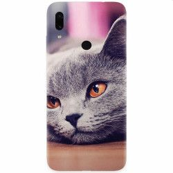 Husa silicon pentru Xiaomi Redmi Note 7 British Shorthair Cat Yellow Eyes Portrait