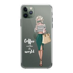 Husa telefon iPhone 11 11 Pro 11 Pro Max Coffee and then the world Transparent Huse Telefoane