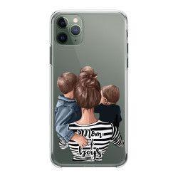 Husa telefon Iphone 11 11 Pro 11 Pro Max cu mamici de baieti Transparent Huse Telefoane