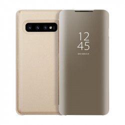 Husa Tip Carte Mirror Samsung Galaxy S10+ Plus Gold