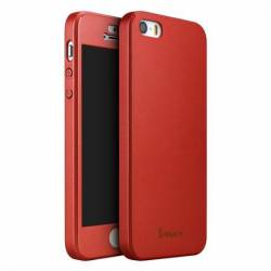Husa IPAKY Full Protect iPhone 5 5s SE Red cu Folie Sticla Ecran