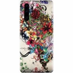 Husa silicon pentru Huawei P30 Pro Abstract Flowers Tattoo Illustration