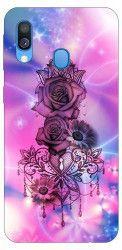Husa Silicon Soft Upzz Print Samsung Galaxy A40 Model Neon Rose
