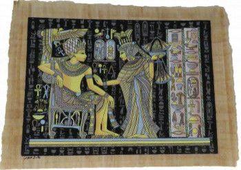 Imagine de perete 43/32cm dualwiew tablou stil egiptean pictat manual hartie de papirus lumineaza in intuneric Tablouri