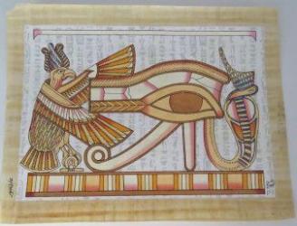 Imagine de perete tablou stil egiptean pictat manual hartie de papirus lumineaza in intuneric E127 42/32cm dualwiew Tablouri