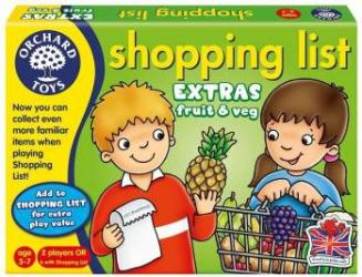 Joc educativ in limba engleza Lista de cumparaturi Fructe si legume Jucarii