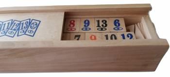 Joc remi rummi din lemn cu piese de lemn Jocuri de Societate