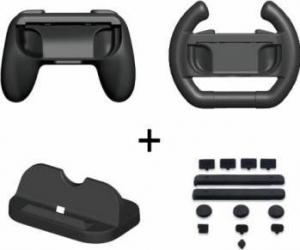 Kit Dobe Stand, 2 controlere si butoane antipraf pentru Nintendo Switch Negru