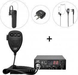 Kit Statie radio CB PNI Escort HP 8001L ASQ + PNI BT-DONGLE 8001 + Casca Bluetooth cu microfon PNI BT-MIKE 7500 cu PT