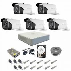 Kit complet supraveghere 1080P Hikvision Turbo HD cu 5 camere de exterior si IR 40 m Camere de Supraveghere