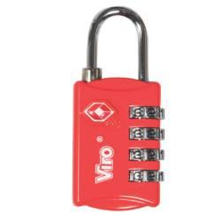 Lacat pentru bagaje Viro 424.7R cu combinator 4 cifre otel cromat rosu Lacate