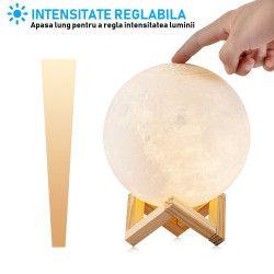 Lampa Luna Moon lumina + Stand Lemn cadou Corpuri de iluminat