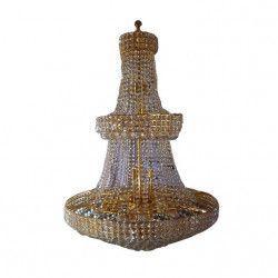 Lustra DC 6013 schelet auriu cristal si metal inaltime ajustabila 30e14 1 8m diametru 80 Corpuri de iluminat